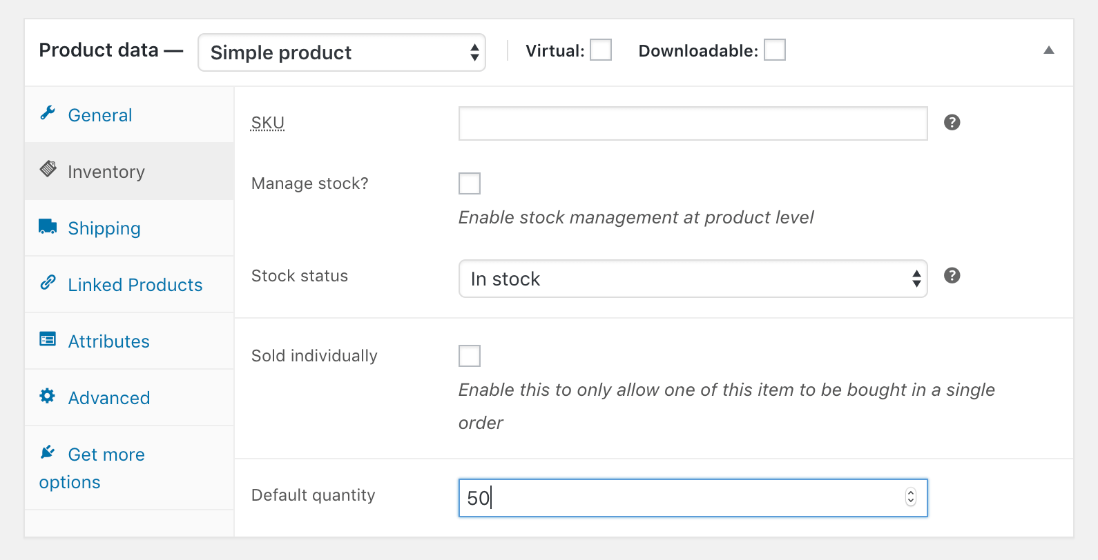 Changing an individual product default quantity.
