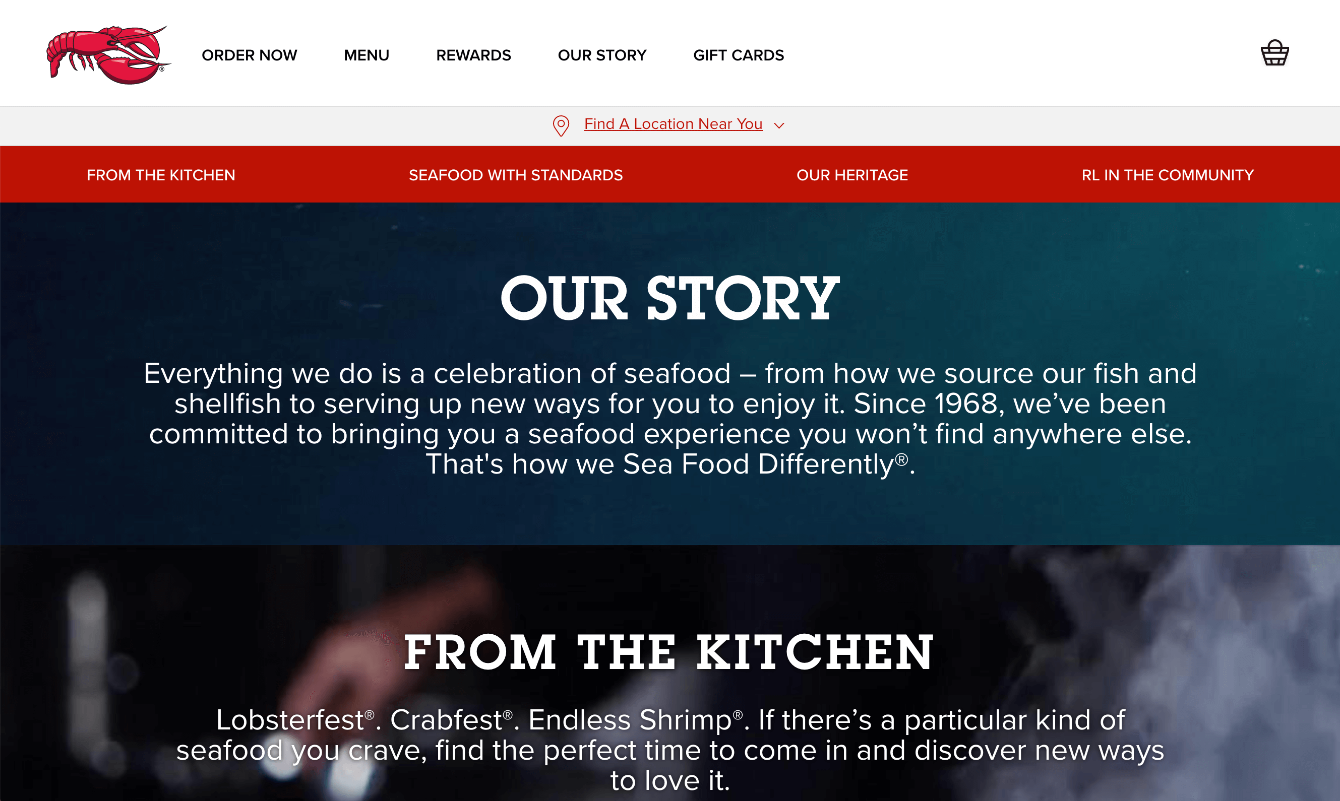 The About page for Red Lobster.