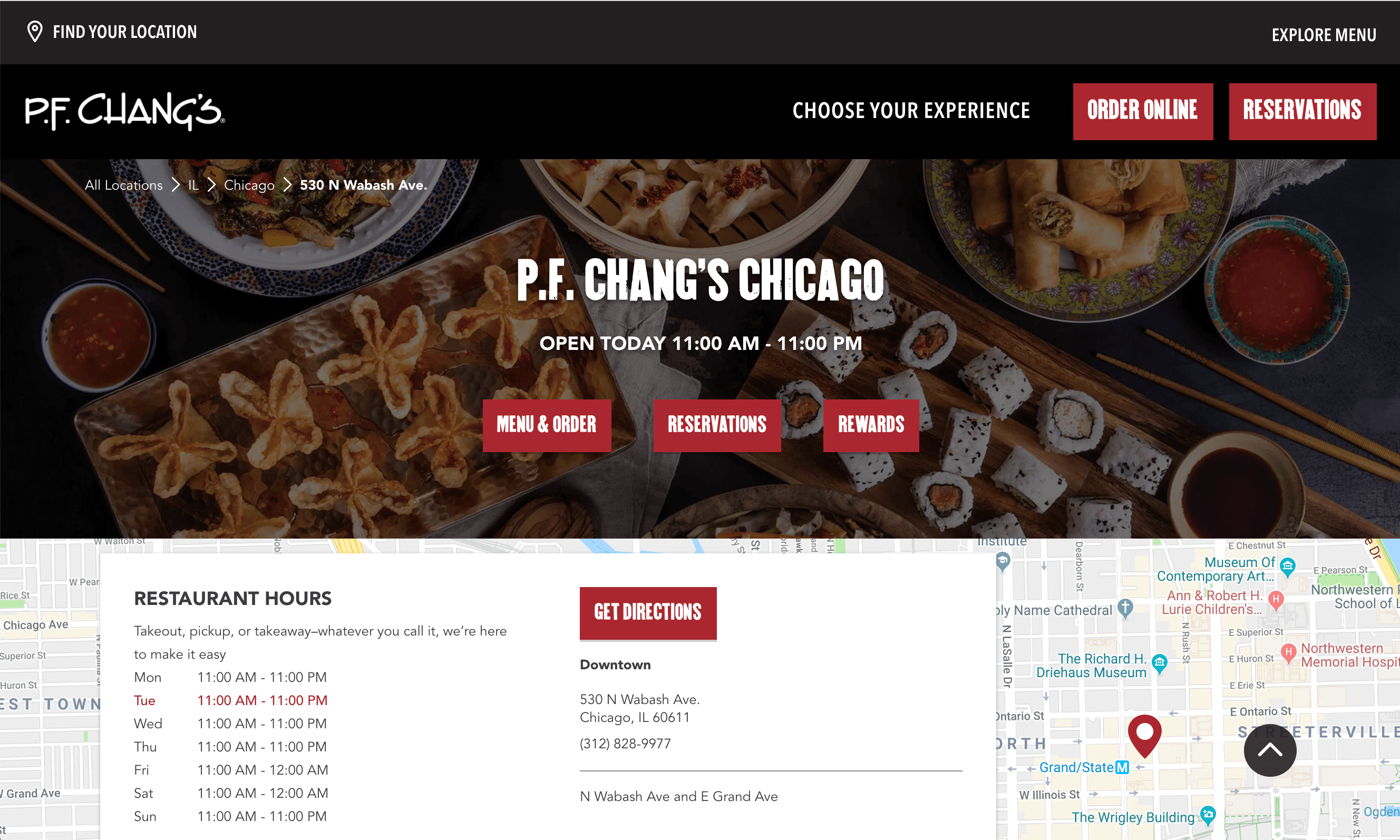 The Location page for P.F. Chang's.