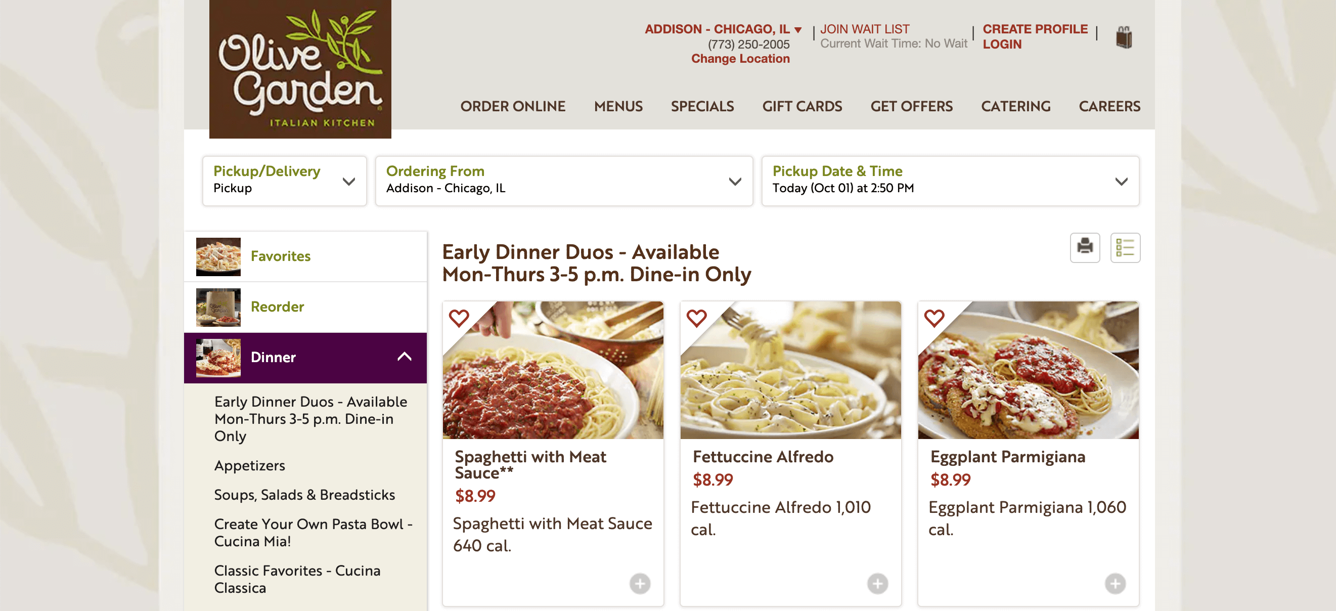 The Menu page for Olive Garden.