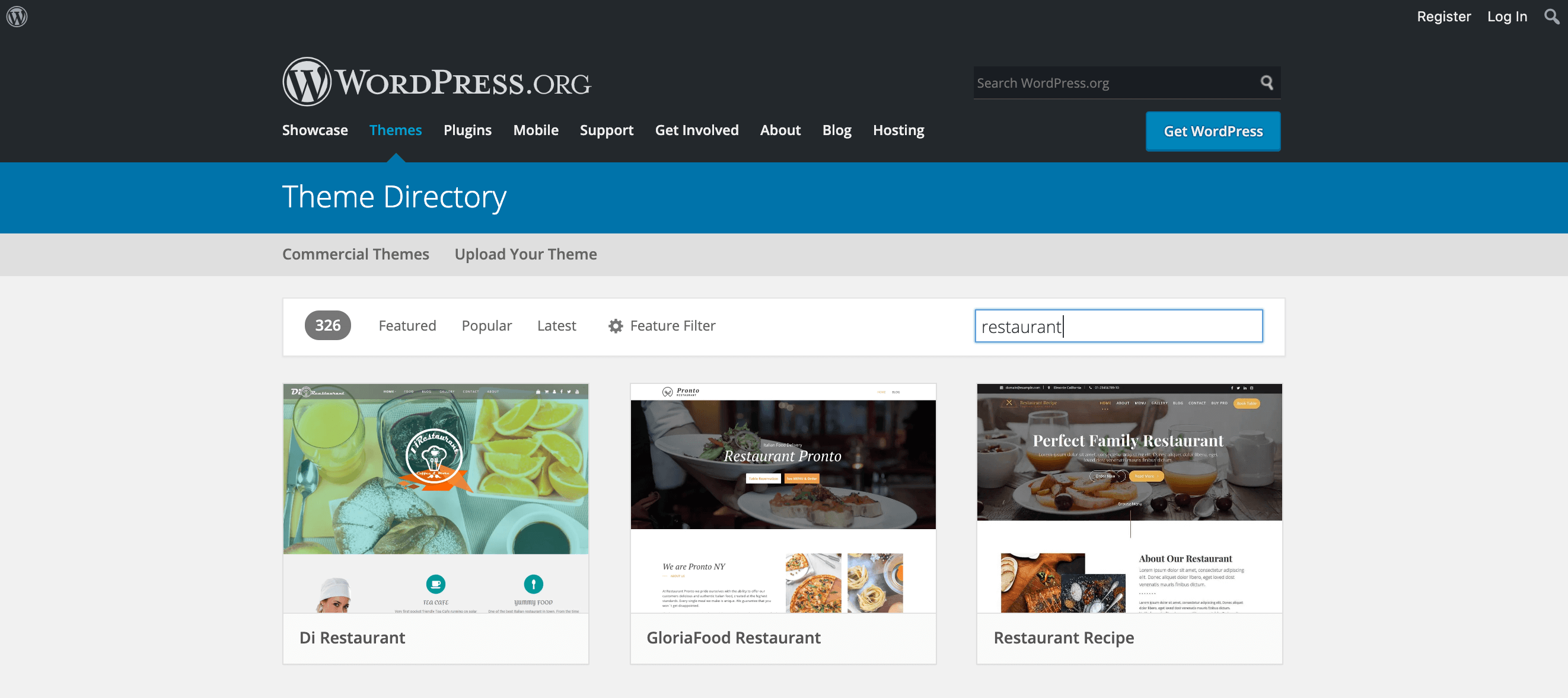 Restaurant themes in the WordPress Theme Directory.