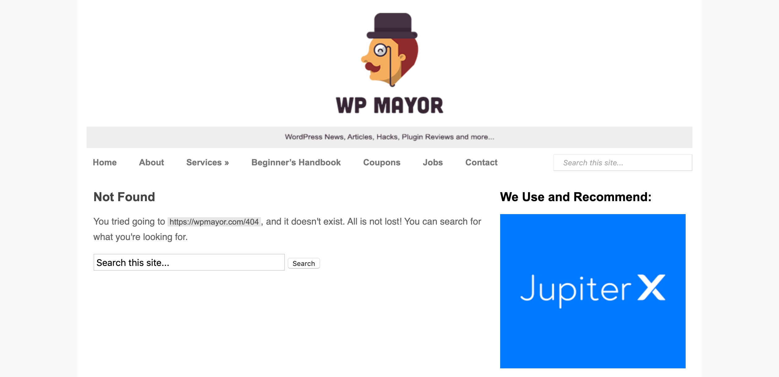 The WP Mayor 404 Error page.
