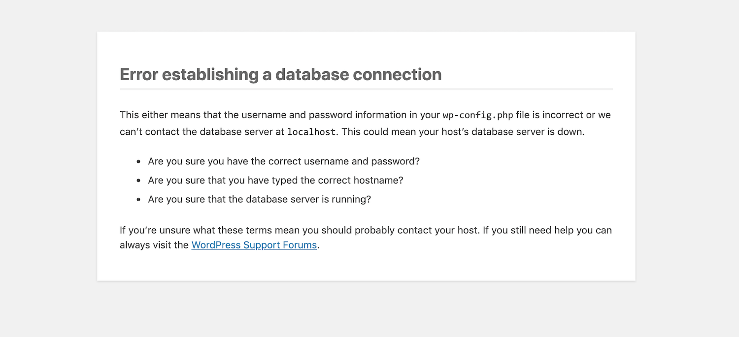 The Error Establishing a Database Connection in WordPress.