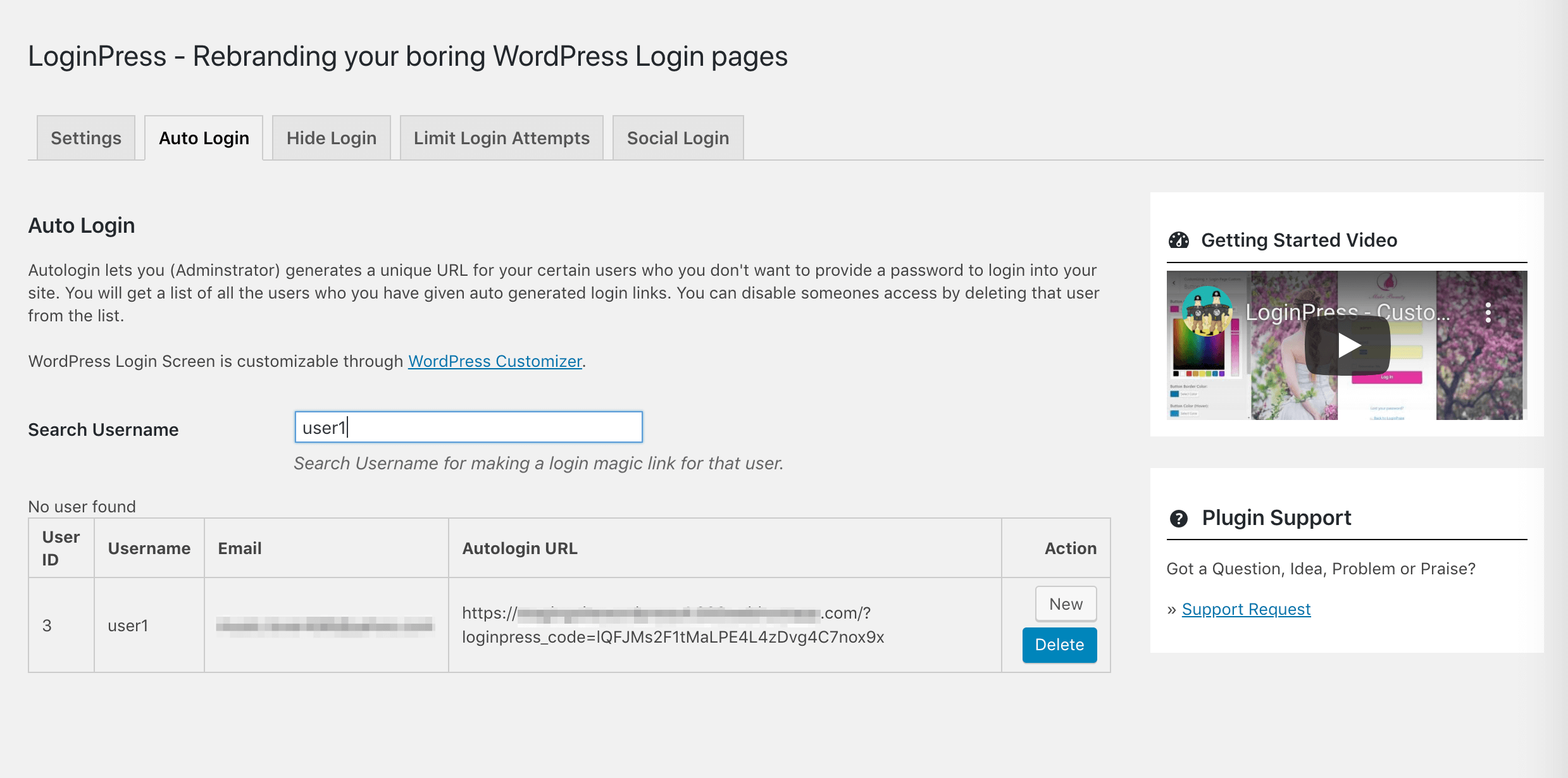 The LoginPress Auto-Login feature.