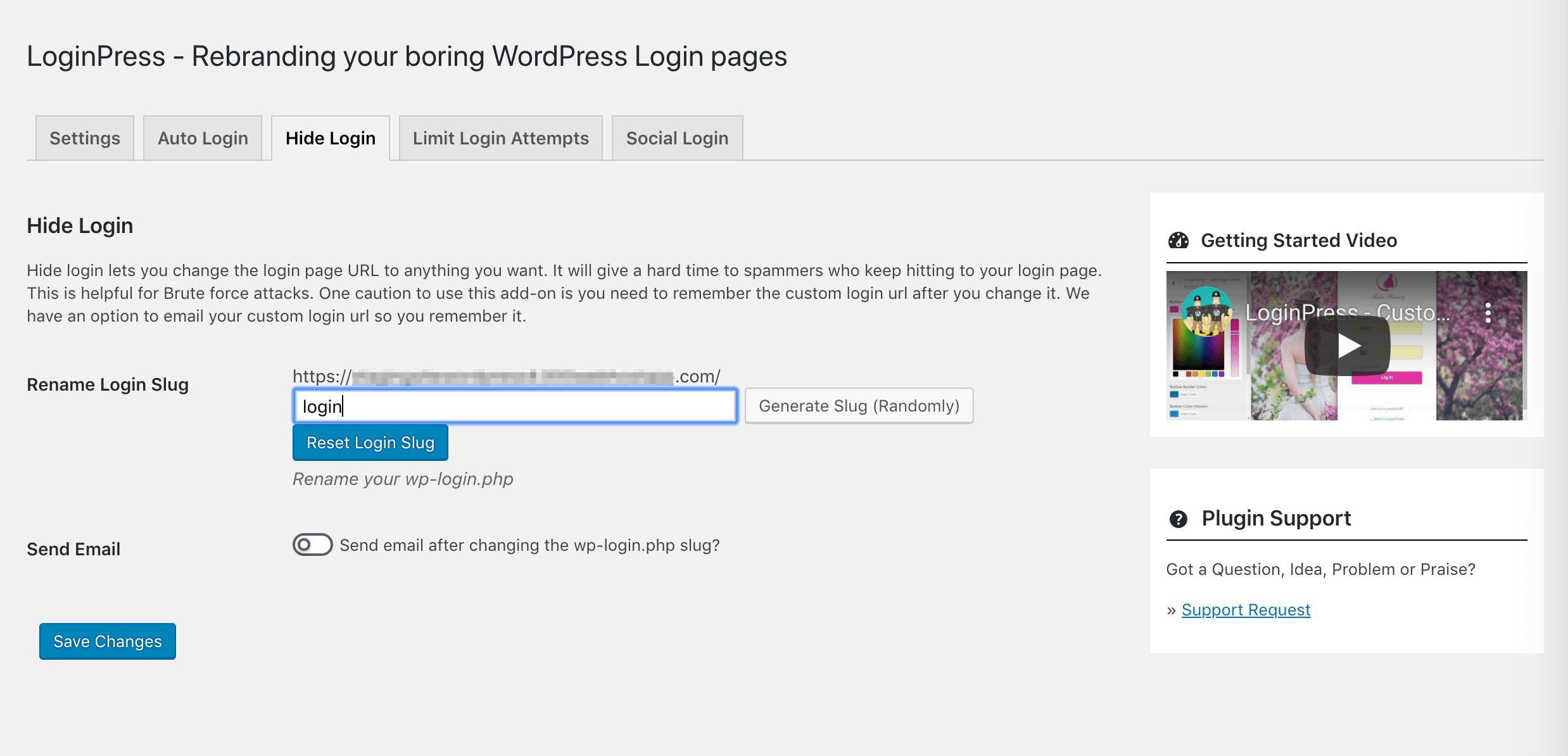 The LoginPress Hide/Rename Login Page feature.