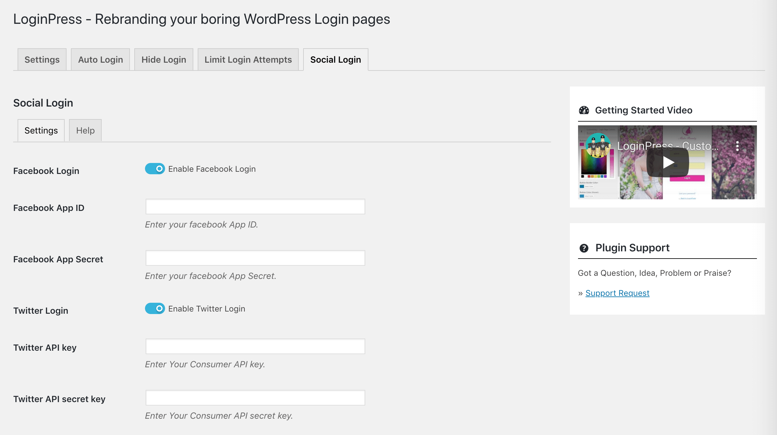 The LoginPress Social Login settings.
