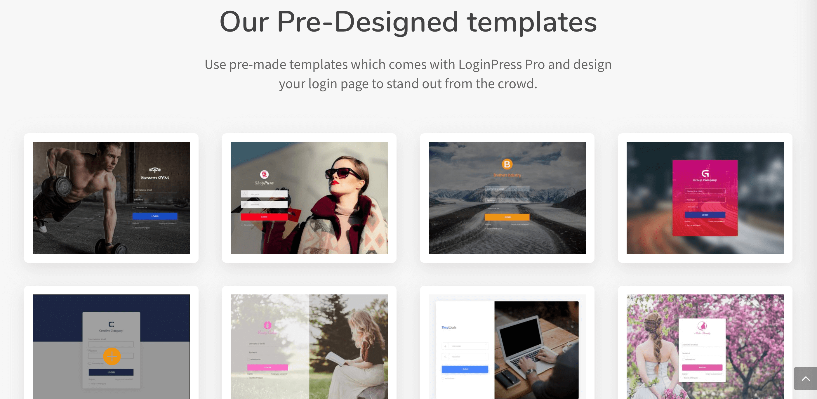 The LoginPress pre-built Login Page templates.
