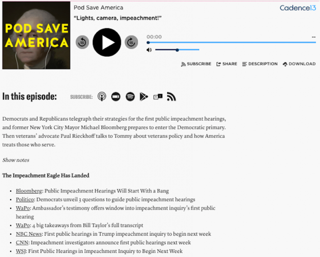 pod save america website individual episode post example