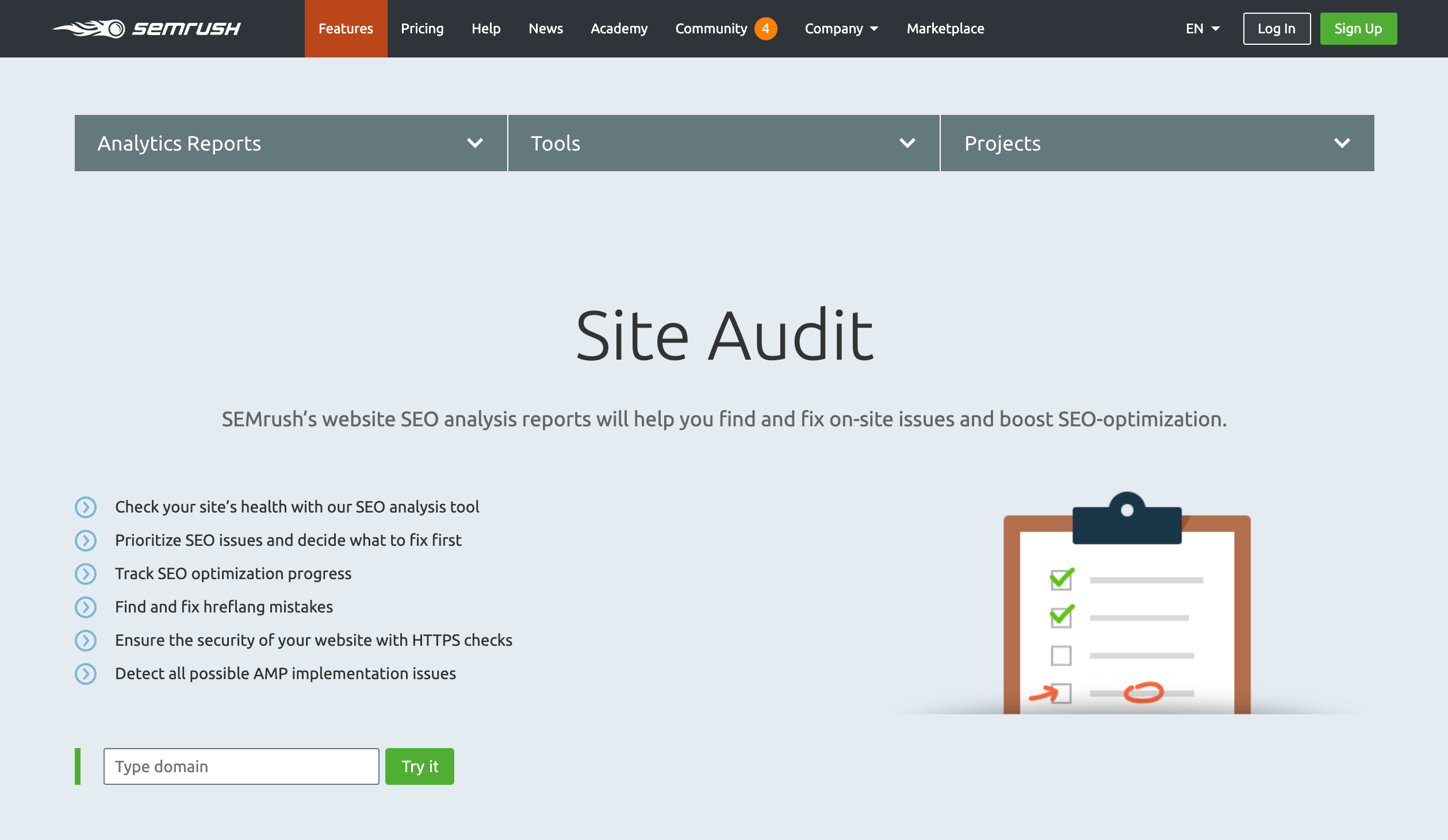 The SEMRush Site Audit tool.