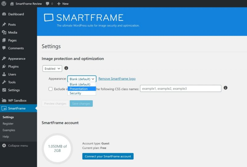 SmartFrame WordPress settings review