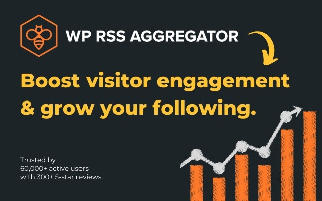Boost visitor engagement and grow your following with WP RSS Aggregator.