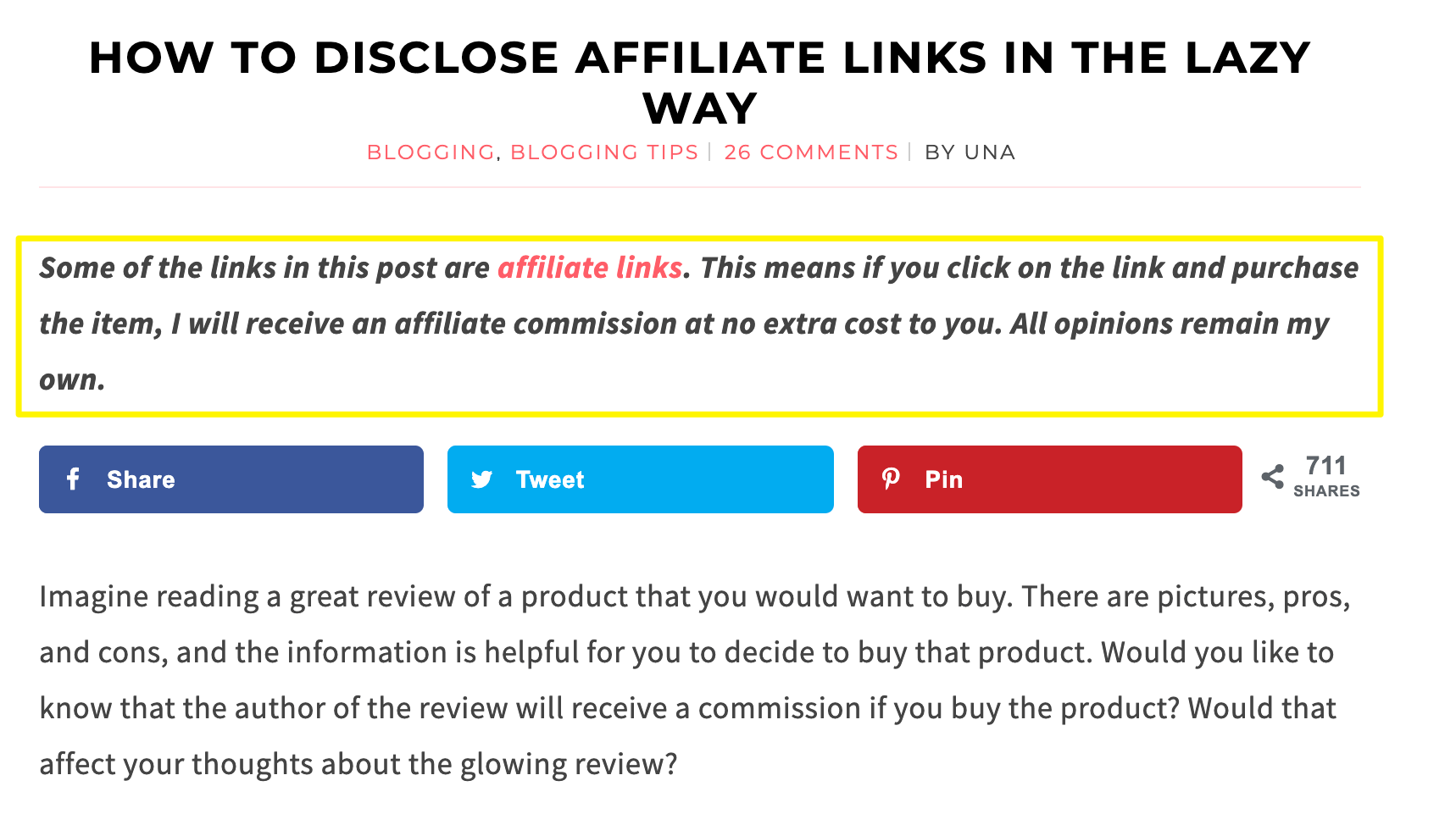 An example of a short affiliate link disclosure in a blog post.