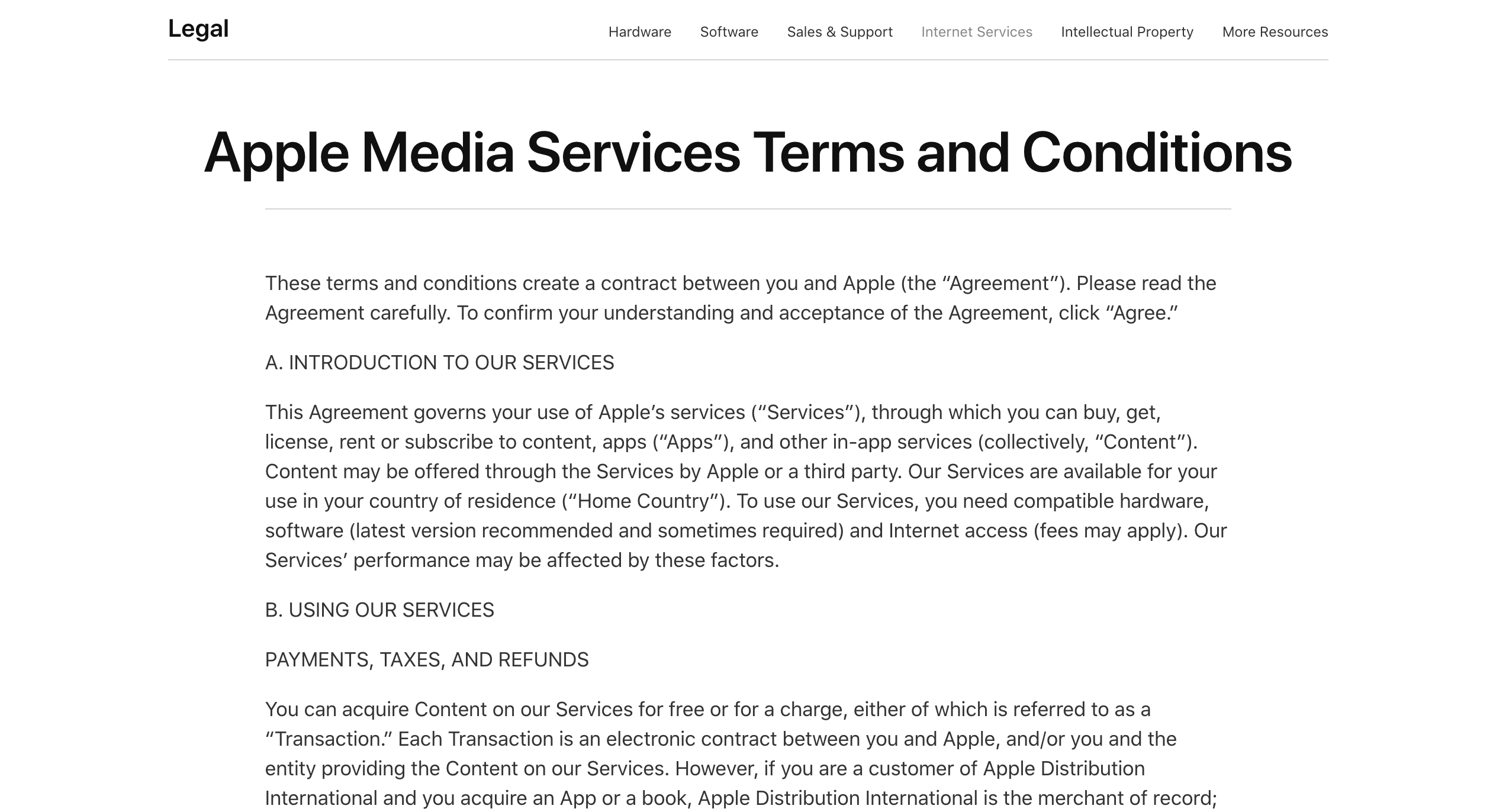 The Apple Media Services Terms and Conditions.