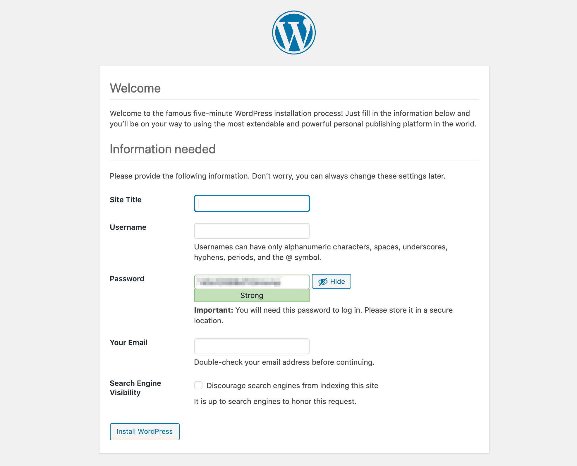 The WordPress Installation script.