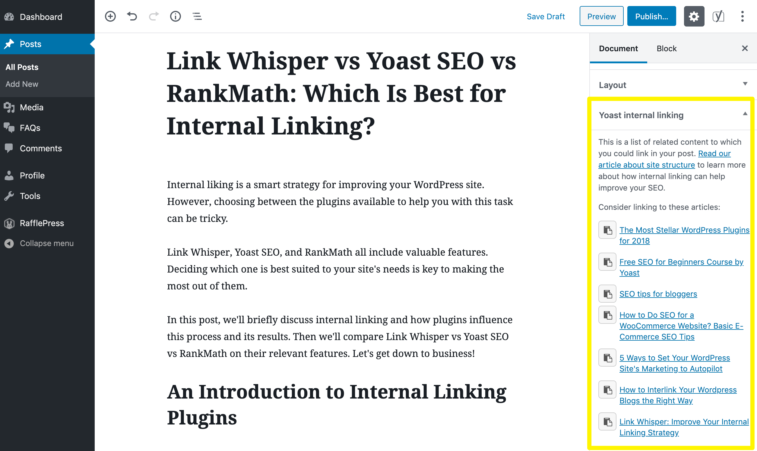 Internal linking suggestions from Yoast SEO Premium.