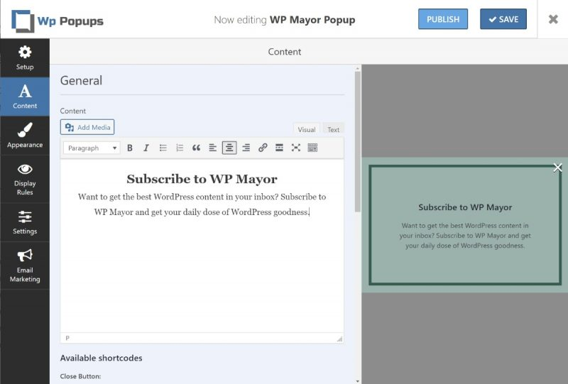 Popup content editor
