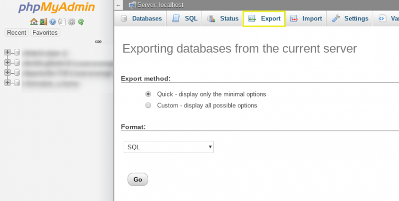 The 'Export' tab in phpMyAdmin.