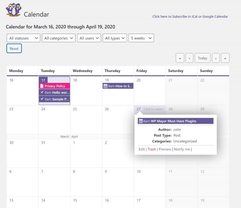 PublishPress calendar detail