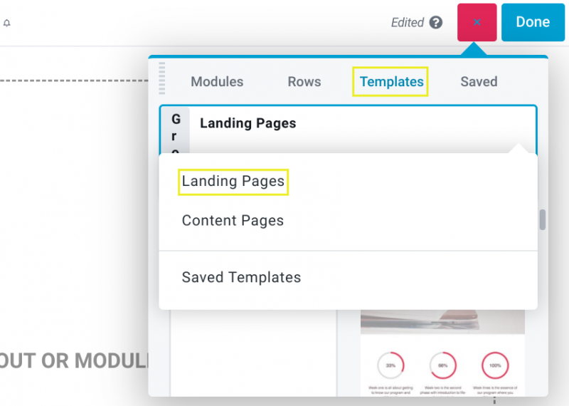 The landing page templates section of the Beaver Builder plugin control panel.