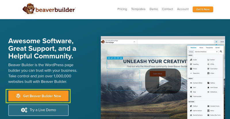 The Beaver Builder website.