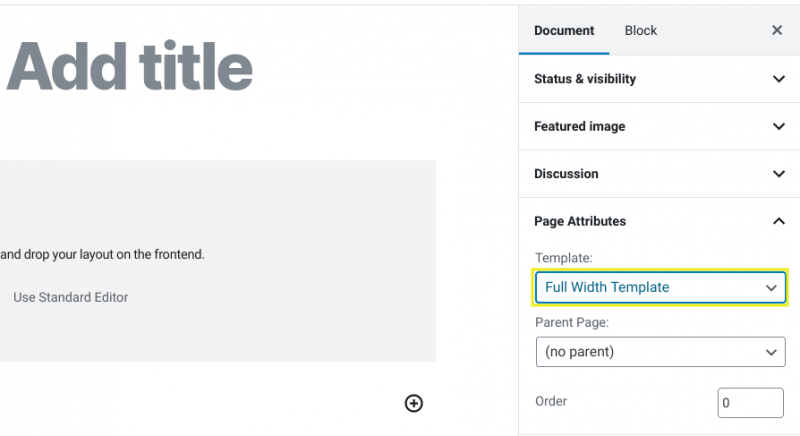The page attributes section in WordPress.