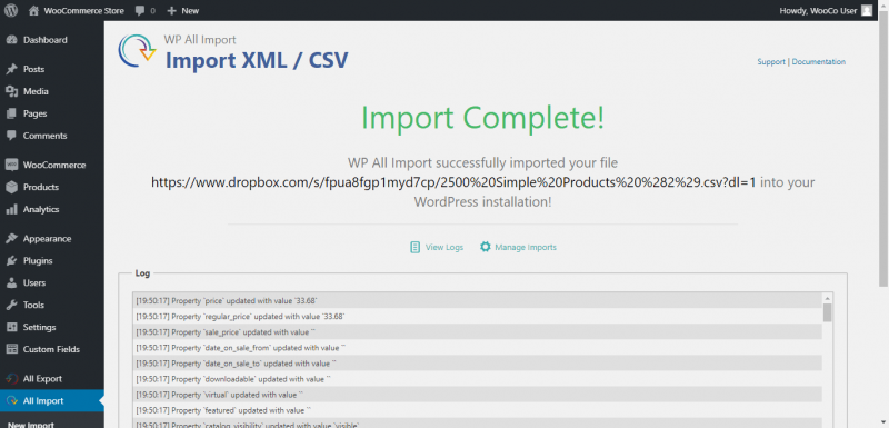 import complete page