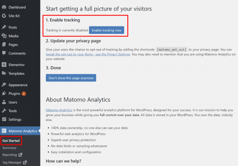 Enable Matomo Analytics for WordPress