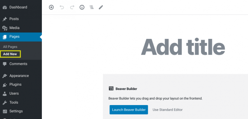 The 'Add New' page in WordPress.