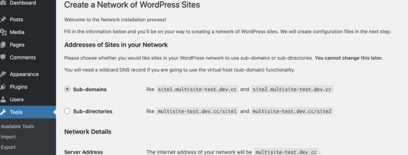 "The ""Create a Network of WordPress Sites"" page"