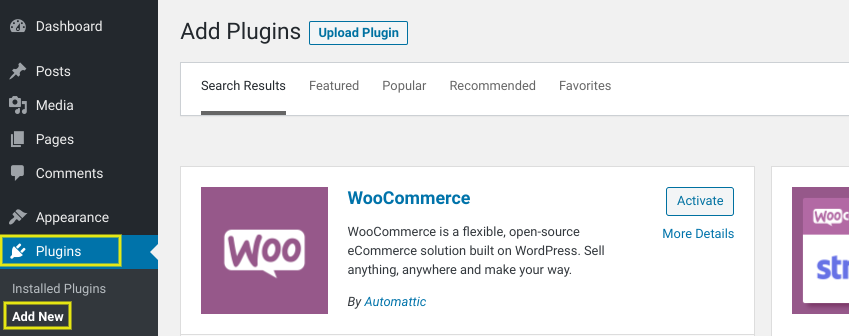 The screen to add the WooCommerce plugin in WordPress.