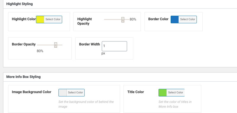 The color and styling options in the WP Draw Attention plugin.