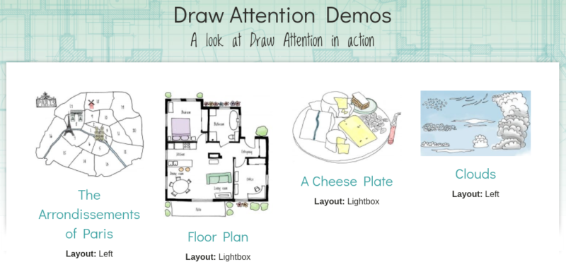 The Draw Attention demos for interactive images and maps.