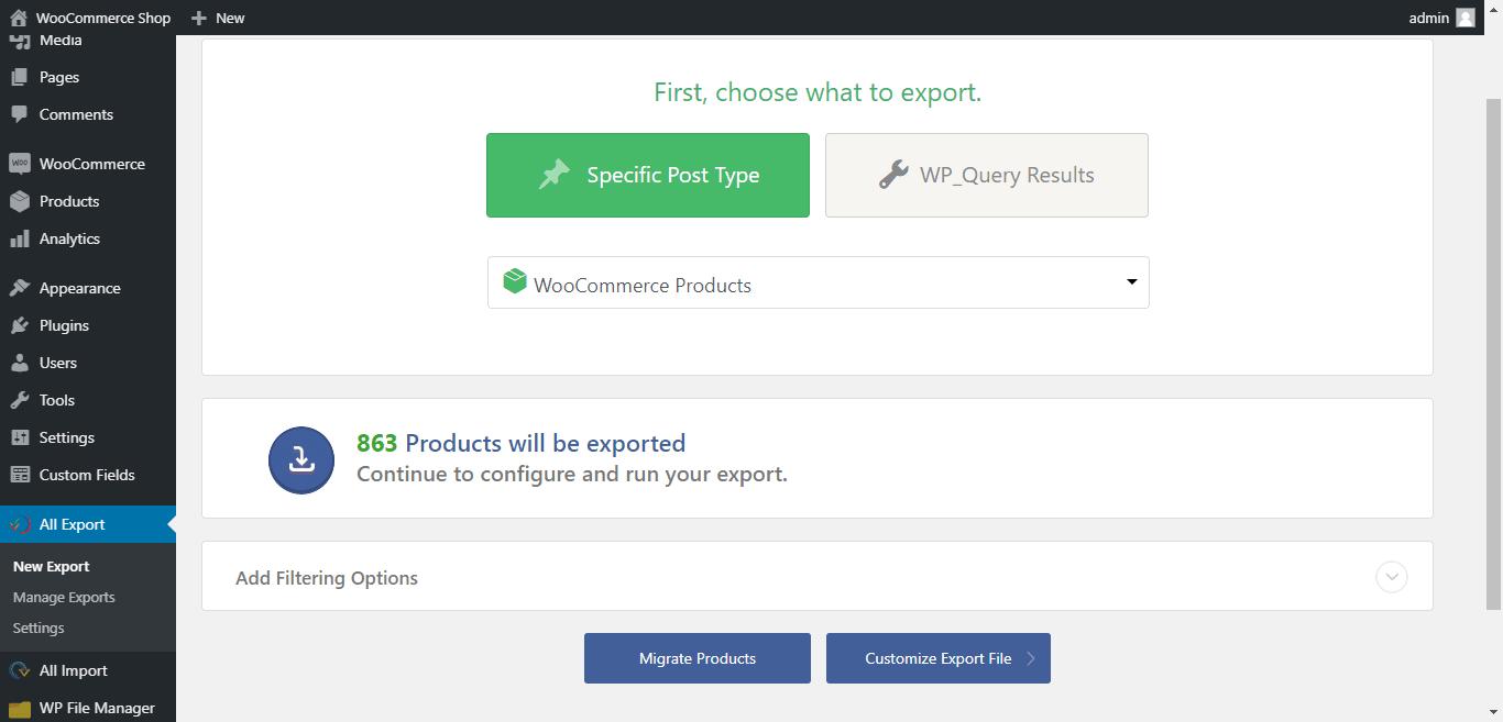 Create new export
