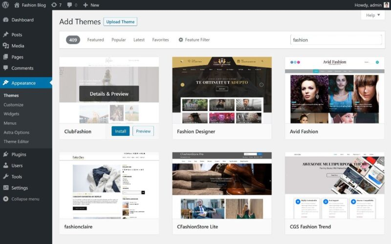 Installing a WordPress fashion blog theme