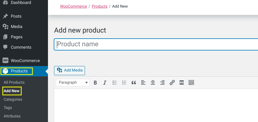 The 'Add new product' page in WordPress using the WooCommerce plugin.