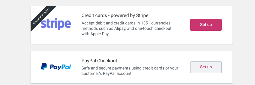 The payment methods for the WooCommerce plugin.