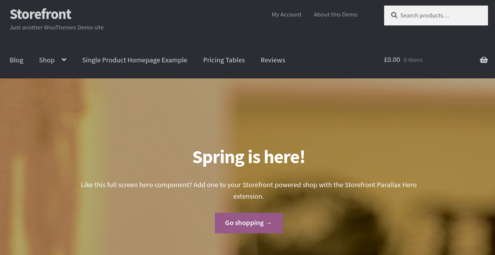 The WooCommerce Storefront theme demo.