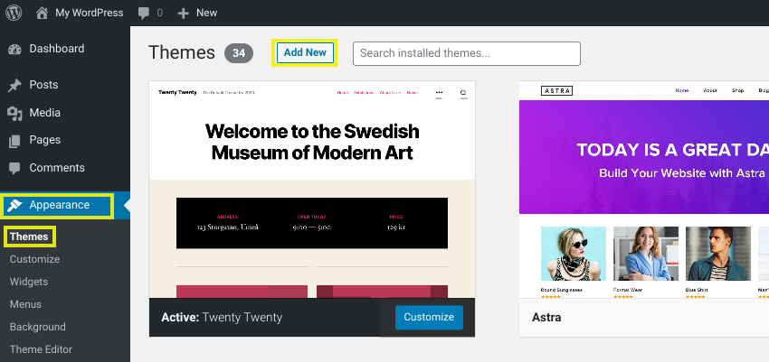 The screen to add a new theme in WordPress.
