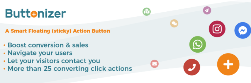 The Buttonizer Floating Action Button WordPress plugin.