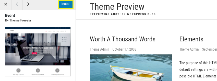 A preview of a WordPress virtual event website theme.