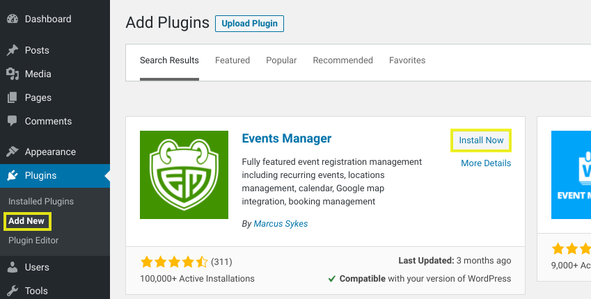 The screen to add a new event management plugin in WordPress.