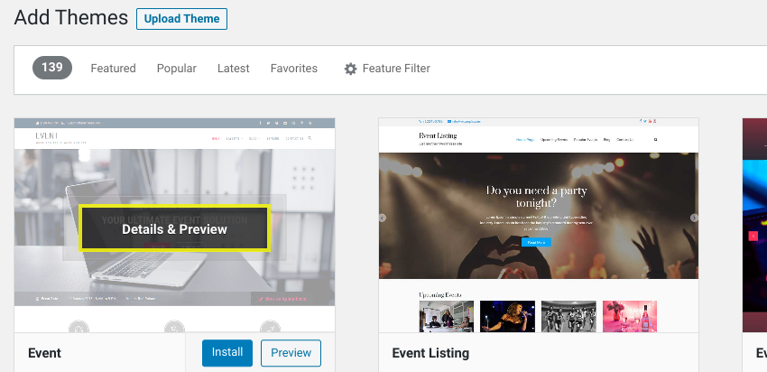 The 'Details & Preview' option on a WordPress theme.