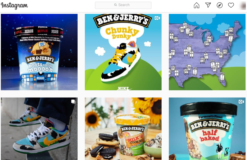 The Ben & Jerry's Instagram feed.