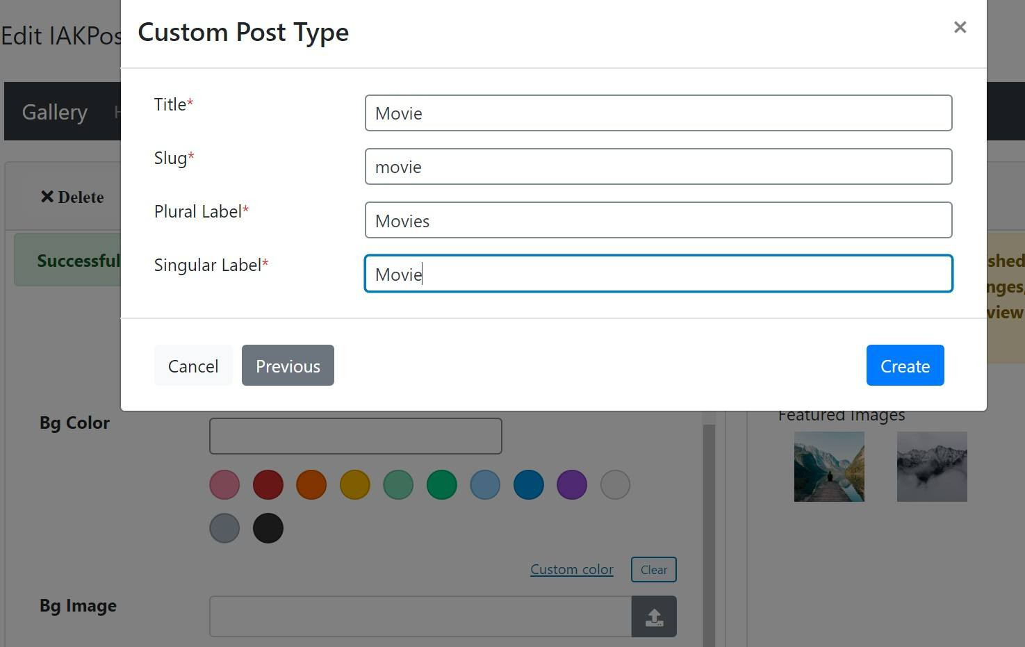 Creating a custom post type