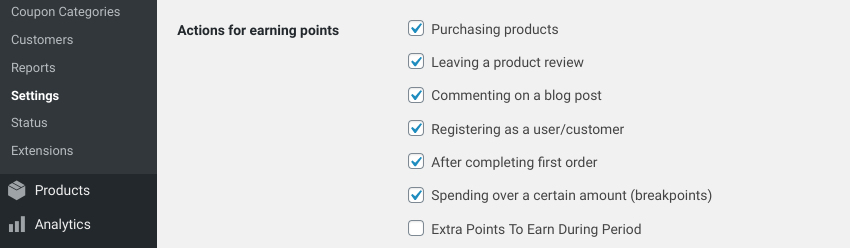 The 'Actions for earning points' section in the WooCommerce loyalty program settings.