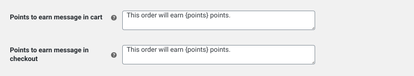 WooCommerce loyalty program display message settings.