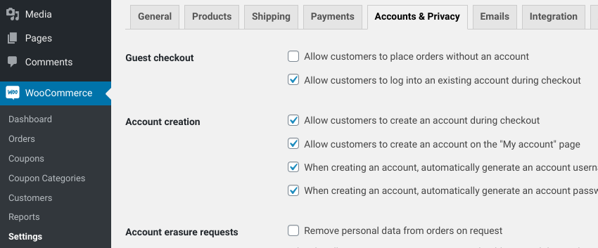 The 'Accounts & Privacy' settings page in WooCommerce.