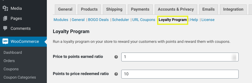 The WooCommerce loyalty program settings in WordPress.