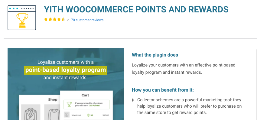The YITH Commerce Points and Rewards plugin.