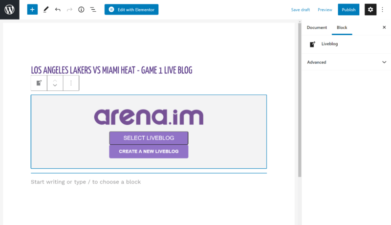 Arena WordPress liveblog block